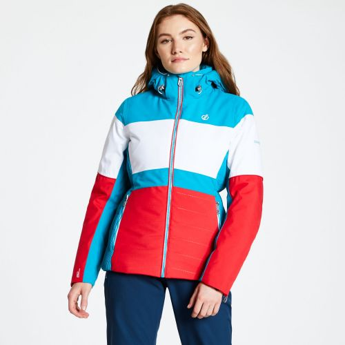 Women's Avowal Ski Jacket Lollipop Red White Freshwater Blue